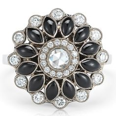Electra onyx and diamond ring from the Kwiat Vintage Collection in 18K white gold