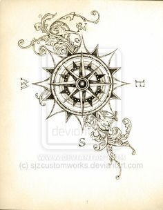lace compass tattoo