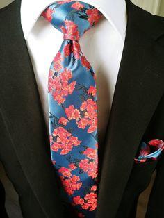 b28c1f82eb80 Red Blue Floral Tie Set Pocket Square Set – StyleTie Tie Length, Tie Set,