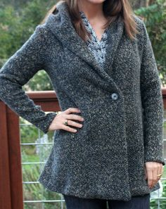 grey hooded chunky knit sweater coat- Sew Country Chick - McCalls 6996 w/added hood
