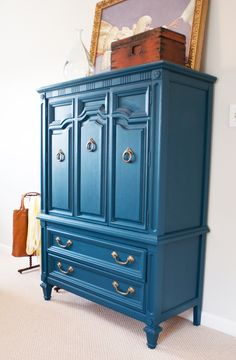 Oh so nice ♥ I would paint an amoire this color if only I knew that someone would buy it from my store. It's usually white, black or natural. l0ve the color! Furbish peacock blue armoire