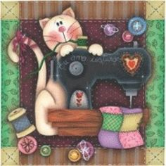 My Prints for Decoupage Decoupage Vintage, Easy Yarn Crafts, Paper Crafts, Applique Patterns, Embroidery Applique, Sewing Clipart, Primitive Painting, Old Sewing Machines, Cat Quilt