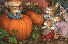 Holly Pond Hill illustration by Susan Wheeler Susan Wheeler, Lapin Art, Bunny Art, Beatrix Potter, Halloween Art, Happy Halloween, Illustrations, Pics Art, Cute Illustration