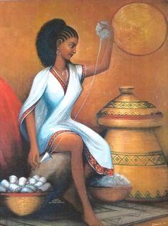 Reproduction of The Original Painting Ethiopian Woman Spinning Cotton Ethiopian Beauty, Ethiopian Dress, Ethiopian Music, Black Girl Art, Black Women Art, History Of Ethiopia, Africa Art, Africa Rocks, Arte Black