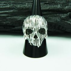 HORROR GOTHIC SKULL 925 STERLING SILVER US Size 14 BIKER ROCKER RING cs-r005 #Handmade