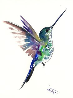 FLying Hummingbird art, One of a kind original watercolor painting, green, blue, turquoise flying hummingbird artwork by ORIGINALONLY on Etsy