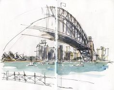 Opera House (Sydney Harbour, Australia), ink and watercolor by Liz Steel