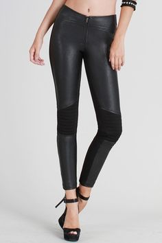 f17dc8d4c4300 Black Motorcycle Faux Leather Panel Pants www.velvetbungalow.com FREE  SHIPPING Motorcycle Style,
