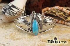 https://tskies.com Silver Leaf Turquoise Bracelet by Andrew Vander - Turquoise Skies