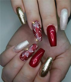pretty nail art designs for 2017 Nails Xmas Nails, Holiday Nails, Red Nails, Christmas Nails, Red Glitter Nails, Christmas Wreaths, Nagel Stamping, Exotic Nails, Luxury Nails