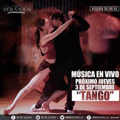 Próximo jueves 3 de septiembre tendremos música en vivo al ritmo de #Tango.  #NoMeOlvides te invita a que vivas esta experiencia y pases un jueves muy agradable.  #Reserva 2-01-89-59 #Ubicados en Hidalgo No.45 entre Morelos y Alvarado a unos metros del parque los berros