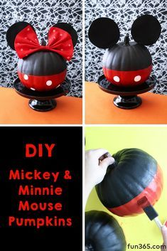 Craft up some Disney inspired fun with these Minnie and Mickey Pumpkins. This a simple no carve pumpkin idea that kids can enjoy too! Halloween Pumpkins, Halloween Crafts, Happy Halloween, Halloween Baskets, Halloween Prop, Halloween Witches, Halloween Quotes, Halloween 2019, Vintage Halloween
