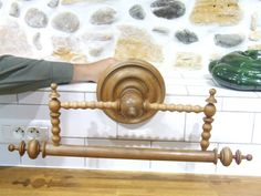 French Turned wood antique Towel rail // by VintageRetroOddities