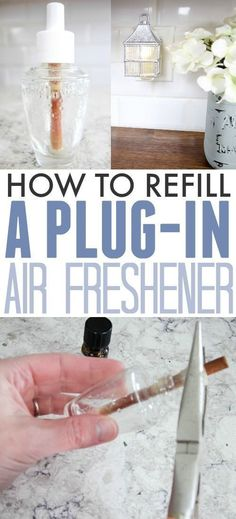 you know that you can refill a plug-in air freshener so you can keep using the same one over and over again? It's easy, economical, and you can even make it completely safe and non-toxic as well! Can't beat that! Diy Cleaning Products, Cleaning Hacks, Cleaning Solutions, Cleaning Closet, Kitchen Cleaning, Organizing Tips, Hacks Diy, Cleaning Supplies, All You Need Is