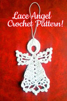 """Let's continue our """"Christmas In July"""" theme! I love these little lace Christmas angels: their delicate look and versatility! Crochet Earrings Pattern, Crochet Snowflake Pattern, Crochet Snowflakes, Crochet Patterns, Crochet Angels, Holiday Crochet, Yarn Bombing, Knit Or Crochet, Christmas Angels"""