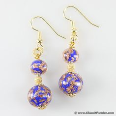 Beautiful blue Laguna Murano glass earrings