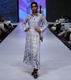 White & Blue Cotton Shibori Long Dress #designerwear #satin #crepe #fusionwear