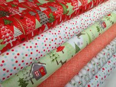 Christmas fabric Merry Little Christmas fabric bundle by Riley Blake- Fat Quarter Bundle, 6 total