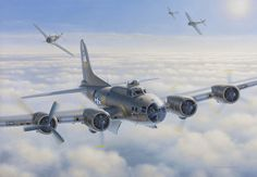 """Assault on Damn Yankee    2007, oil on canvas,framed 26x33 On a bombing mission to Solinger, Germany, December 1, 1943, ship commander Lt. Bruce Sundland (Governor of Rhode Island 1991-1995) pilots a B-17F of the 384th Bomber Group, 545th Squadron. Over the target an engine is hit by flak and """"Damn Yankee"""" becomes a """"stragler"""" as German FW 190's from JG26, attack to shoot down the """"Fortress"""". Five crew members die from the attack and five, including the pilot Bruce Sundland survived the…"""