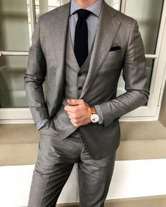 Men's Gray 3Piece Fomal Slim Fit Tuxedo Suit Wedding Suit Dinner Business Custom #fashion #clothing #shoes #accessories #mensclothing #suitssuitseparates #ad (ebay link)