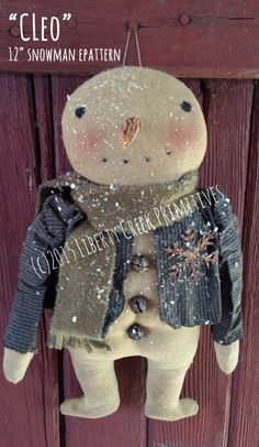 Easy pattern, only a few pieces! This listing is for the pattern to make the item shown, not for the finished product. (c) 2015 Liberty Creek Primitives Christmas Room, Primitive Christmas, Christmas Snowman, Vintage Christmas, Christmas Crafts, Primitive Snowmen, Primitive Crafts, Primitive Doll Patterns, Snowman Patterns