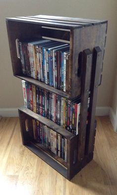 Rustic Wooden Crate 3 Shelf Bookcase Shelving Floor Stand - Wood Shelves for Books, DVDs, Storage, Bathroom, Night Stand on Etsy, $65.00
