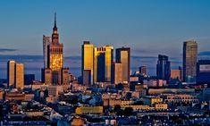 by Sebastian Deptula - Warsaw at sunrise Warsaw City, Warsaw Poland, Viking Designs, Building Concept, Cartography, City Life, San Francisco Skyline, Good Morning, New York Skyline