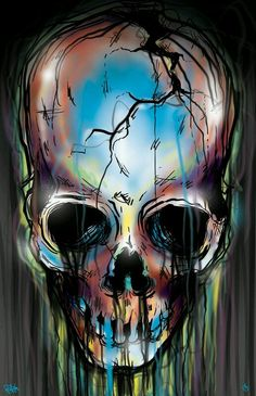 It looks like rainbow watercolor dripping off of a skull. The effect is enchanting. Skull Artwork, Skull Drawings, Psy Art, Skeleton Art, Skull Wallpaper, Skull Tattoos, Art Tattoos, Skull Design, Grim Reaper