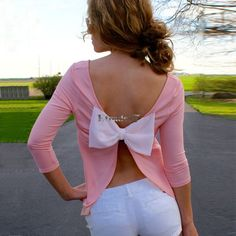 Stylish Women Sexy Backless Bowknot T-shirt Tops Casual Tee Shirt Blouse EA77 #Unbranded #Sexy