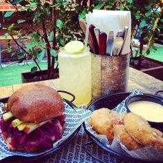 Burger Burger - THE GERMAN Pork schnitzel, cheddar cheese, sauerkraut ...