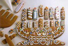 Hanukkah Gingerbread Menorah--use this as a template for your own cookies! Hanukkah Crafts, Jewish Crafts, Hanukkah Food, Hanukkah Decorations, Hanukkah Menorah, Christmas Hanukkah, Hanukkah Recipes, Jewish Hanukkah, Jewish Festival Of Lights