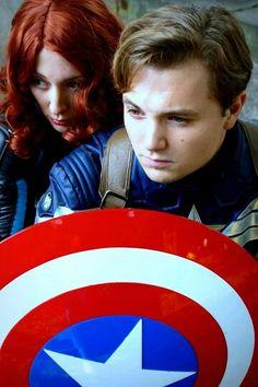 Black Widow and Captain America Cosplay at Connichi 2015  http://ravenscroftcosplay.facebook.com  #avengers #blackwidow #cosplay #marvel #AoU #connichi #kassel #natasharomanoff #costume #captainamerica #shield #hydra #steverogers