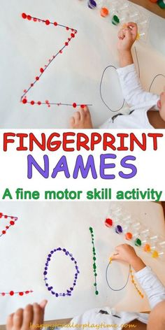 here is a quick amp easy toddler or preschooler activity decorating their name using their fingerprints toddleractivity preschooleractivity finemotorskills - PIPicStats Motor Skills Activities, Preschool Learning Activities, Fun Learning, Letter Activities, Preschool Education, Learning Activities For Toddlers, Free Preschool, Preschool Art Centers, Fine Motor Skills