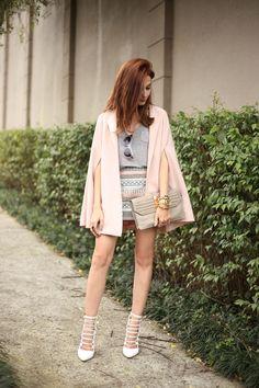 FashionCoolture - 28.07.2016 look du jour baby pink cape beaded skirt (7)