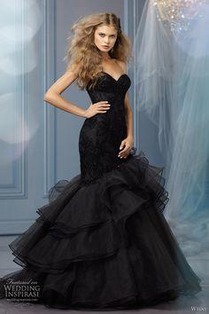Black wedding dress by Wtoo Bridal like this for a bridesmaid dress! Black Wedding Gowns, Wedding Dress Trends, Gown Wedding, Gothic Wedding, Wedding Ideas, Tulle Wedding, Trendy Wedding, Wedding Blog, Wedding Colors