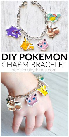 If you have Pokemon Go fans at your house they will love bringing the fun indoors by making this DIY Pokemon Go Charm Bracelet. Fun DIY craft, DIY project, Shrinky Dinks and fun craft for kids. Fun Diy Crafts, Fun Crafts For Kids, Diy For Kids, Craft Kids, Simple Crafts, Geek Crafts, Pokemon Jewelry, Pokemon Craft, Pokemon Party