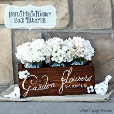 DIY Garden Flower Box (would be a good way for me to practice building something!) {MATERIALS - 5 pieces of wood, 2 triangle brackets, 2 regular brackets, 6 – 1 1/2″ screws, stain, etc.}