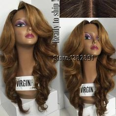 Black Blonde Ombre Lace Front Wig Body Wave Synthetic Lace Front Wig Heat Resistant African American Lace Wig For Black Women