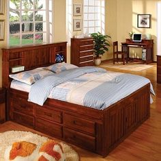 Discovery World Furniture Merlot Bookcase Captains Bed Full With 3 Drawer Storage and Bottom Trundle *** Learn more by visiting the image link.