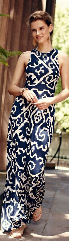 Women's fashion | Blue printed maxi dress