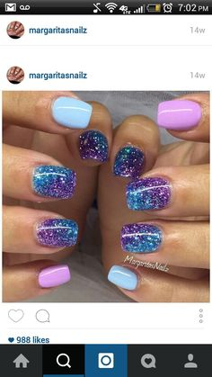 Pastel blue and purple gel nails