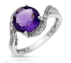2.44 CTW Amethyst Sterling Silver Ring $57.50