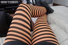 Orange stripes tights