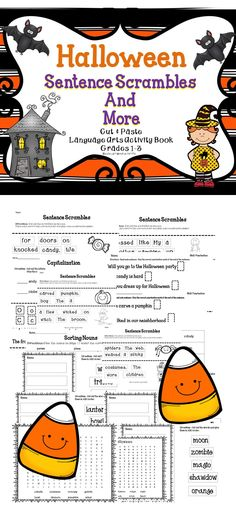Sentence Scrambles and More - A Fun Collection of Halloween Language Arts Lessons! #halloween