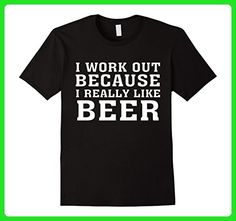 Mens I Workout Because I Really Like Beer Beer T shirt Small Black - Workout shirts (*Amazon Partner-Link)