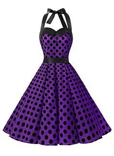 Amazon.com: Dressystar Vintage Polka Dot Retro Cocktail Prom Dresses 50's 60's Rockabilly Bandage: Clothing