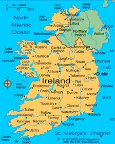 Map of Ireland ~ A special country in Europe because it is its own island! Its part of Great Britain. It is relatively small island at only 32,000 sq. miles- but over 6,000,000 people call it home!