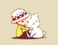 So cute!!!! <3  Trafalgar Law and Bepo  One Piece
