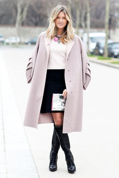Helena Bordon pretty in a pastel coat worn over black & white shift dress #StreetStyle