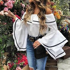 ZANZEA Women Off Shoulder Strapless Flouncing Bell Sleeve Blouse Shirt Tops Plus Bell Sleeve Top Outfit, Bell Sleeve Blouse, Bell Sleeves, Corsage, Daily Street Style, Instagram Outfits, Loose Tops, Shirt Blouses, Spring Outfits